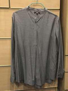 Uniqlo Mandarin collar Striped shirt