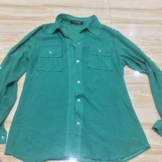 Long sleeve sheer mesh top
