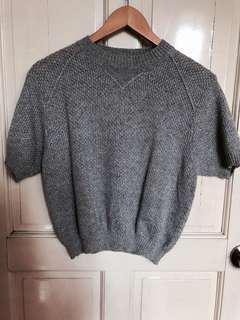 Grey Wool Short Sleeve Sweater
