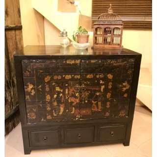中式手繪實木柜