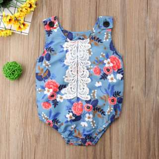🚚 Newborn Baby Girl Kids Lace Flower Romper Jumpsuit Clothes Outfit Summer
