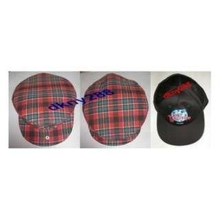 Beret Cap Red + Planet Hollywood Paris Baseball Cap Black - New