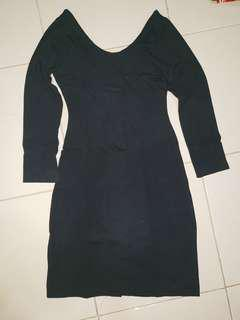 Low back black dress