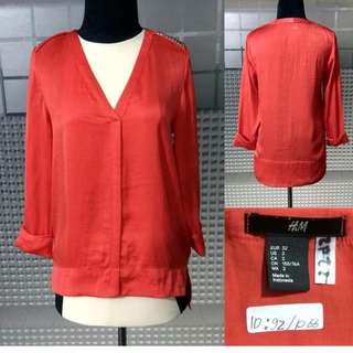 H&M Red Studded Silk Top