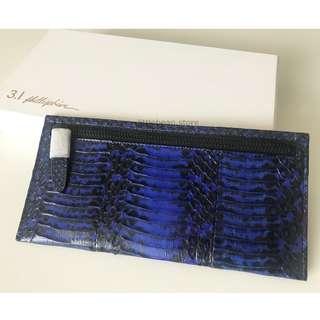 【3.1 Phillip Lim】Lamb Leather Zip Purse Wallet Blue/Black 銀包