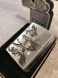 Zippo火機 laser 龍 十字圖案 機身拉橫絲幼花紋