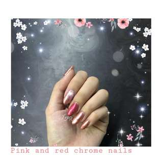 Red and pink chrome nails 🌸