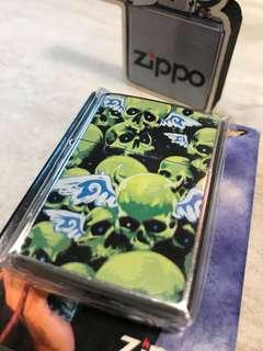 Zippo火機 💀 骷髗 機身幼花紋 全新未開膠紙套