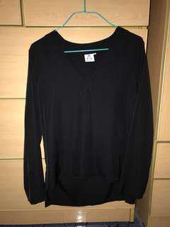 Aforarcade - v neck black blouse