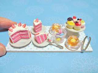 Dollhouse Miniature Strawberry Cake High Tea Set