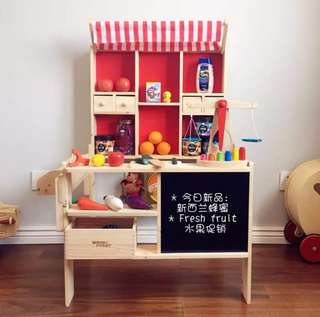 (PO) BN Wooden Fruits & Vegetables Supermarket Grocery Shopkeeper Cart Stand