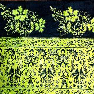 Batik Fabric - green on black