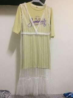 🚚 長版衣+蕾絲罩衫