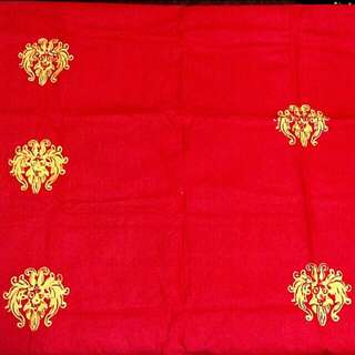 Batik Fabric - yellow on red