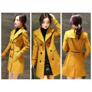 Korean Double Breasted Jessie Coat Size L (Yellow)