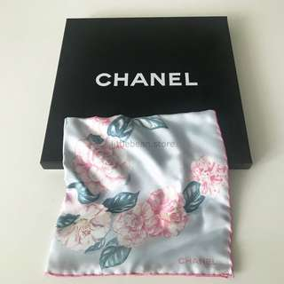 【Chanel】CC Camellia Flower Silk Scarf Pink Blue 真絲 絲巾
