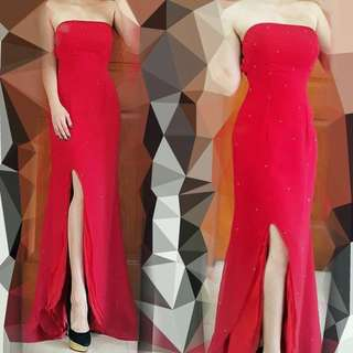 Gaun Pesta Merah (Flamingo Red Tube Gown, dress merah panjang)