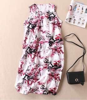 🚚 101699民族風復古潑墨梅花棉麻連衣裙無袖寬鬆亞麻洋裝size:XL