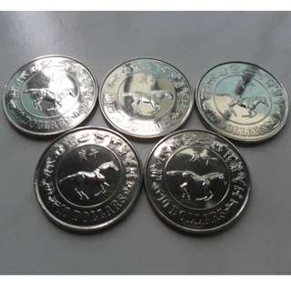 5x 1990 Singapore Lunar Year of Horse Unc $10 Coin