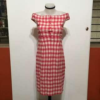 Lily Brown (Japanese Brand) off shoulder plaid dress
