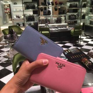 Prada Wallet in pink/ blue saffiano leather