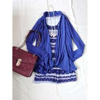 深藍色長版罩衫外套垂墬外套開襟外套搭配薄罩衫冷氣房小外套