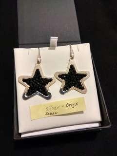 Sterling Silver & Black Onyx Star Earrings