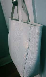 Saks Fifth Avenue White Faux Snakeskin Bag
