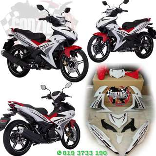 COVERSET EXCITER RC 150 2018 PUTIH MERAH YAMAHA Y15ZR