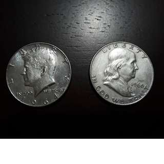 Kennedy and Franklin half dollar USA silver coins 1960 and 1964