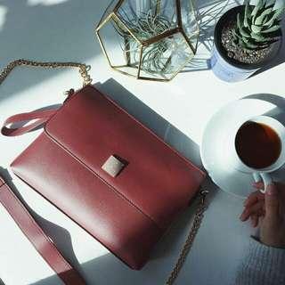 🚚 Saime 東京企劃 方塊鏈條2WAY手拿包 小方包 酒紅色