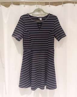 H&M Blue, Red and White Striped Dress