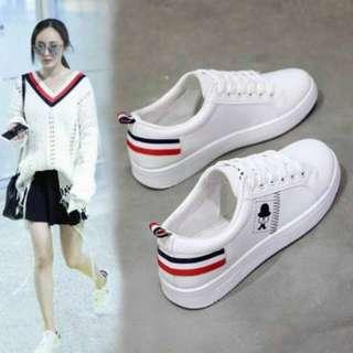 Sepatu Wanita Kets Cewe Putih Motif Kumis