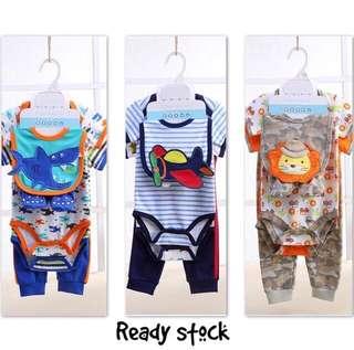 5 in 1 baby gift set, romper pant bibs stockings baby boy set