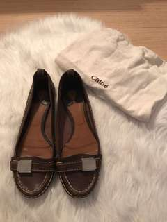 Chloe Brown Leather Flats
