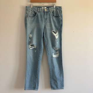 Guess Mid-Rise Light Wash Distressed Boyfriend Jeans