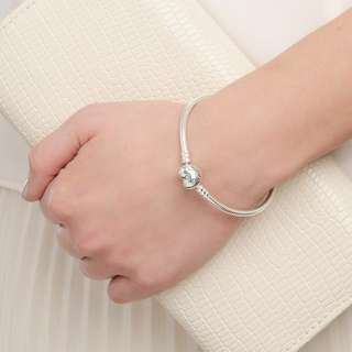 Authentic Pandora Moments Silver Bracelet with Heart Clasp