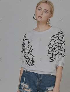 Dolman Sleeve Letters Print T-Shirt SD