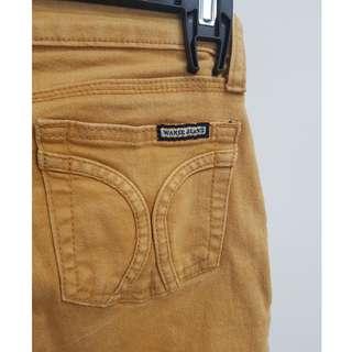 Full Length, Skinny Leg Mustard Denim Jeans - Size 8