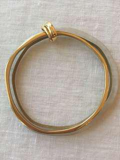 Gold/opaque double bangle