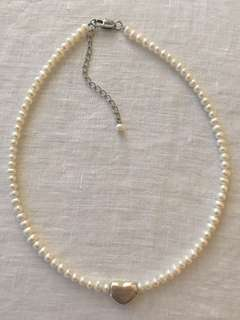 Freshwater Pearl Necklace with Heart