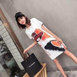 Freehand Printing T-shirt Dress 042305  W7