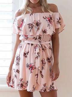 Pink Off shoulder floral Dress