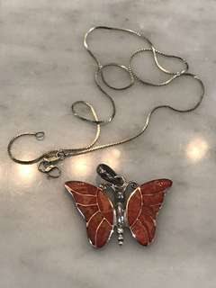 Sterling Silver 925 Butterfly Pendant Necklace