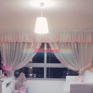❤QUOTE OWN PRICE➡️MY FOLLOWERS ONLY❤🚫Non Followers is $800+ (Cost Price)🚫✨NEW & ONLY 1✨🌈CUSTOM MADE SILK🌈🐰EUROPEAN Country Windy Soft feel Pink Curtain + Beam💋No Pet No Smoker Clean Hse💋