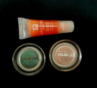MAYBELLINE COLOR INK EYESHADOW PLUS FREE LANCOME LIP GLOSS AND MAYBELLINE MICELLAR WATER