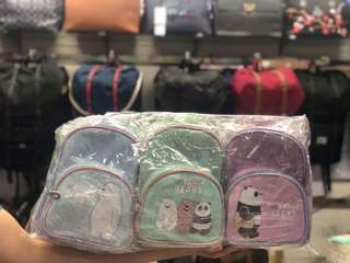 We bare bear bagpack amd pouches
