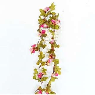 Bunga rantai juntai palsu fake imitasi pagar daun hias plastik flower dekorasi artificial murah cantik perlengkapan pesta rumah taman home decoration shop party