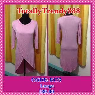 Pink Long Back Top Large frame