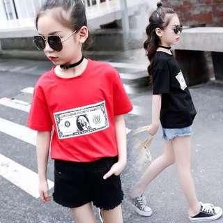 💥中大童裝-預購H023禾《夏季韓版女童美元短袖上衣T恤》